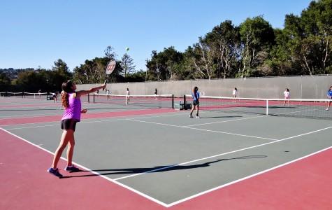 Girls tennis team practicing