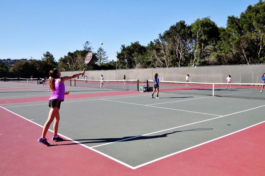 Girls tennis team practicing