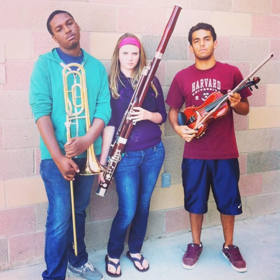 Dario Johnson, Jannah Perry and Andrew Sohrabi during seventh period orchestra.