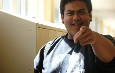During passing period, Tristan Gasperian always makes sure to strike a pose.