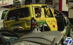 Dismembered taxi cab after fatal accident.