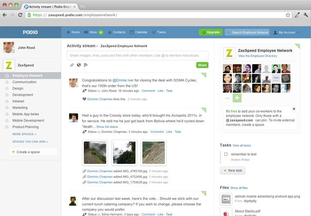 On Podio's homepage, group members can post statuses, comments, pictures, and more.