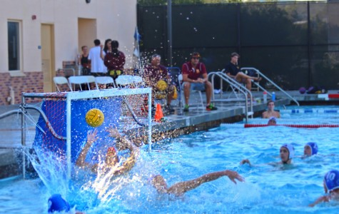 Boys varsity water polo in a 2013-2014 season game.