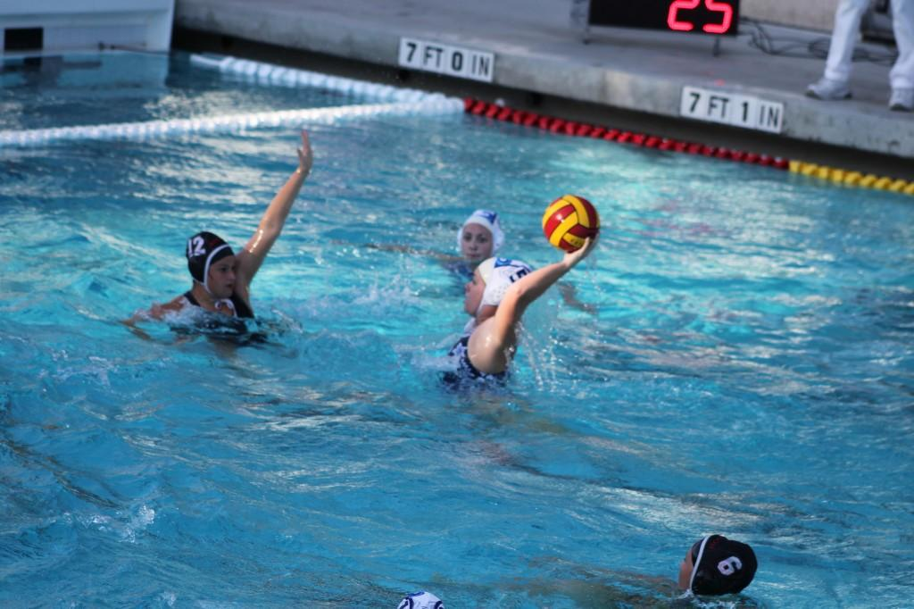 Senior Chloe Scott takes a shot on the Aragon goal during the Scots' 8-5 win.