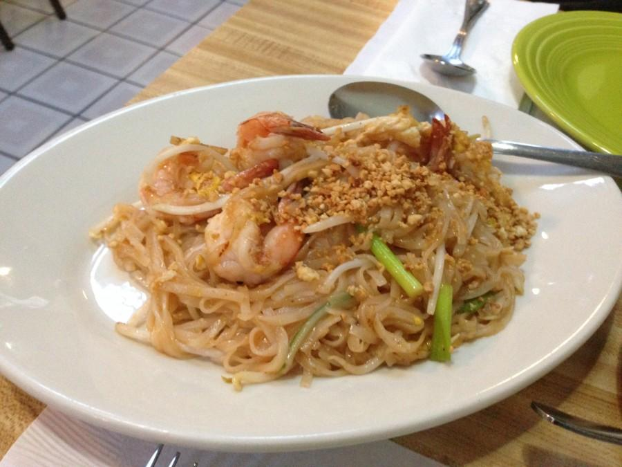 The Pad Thai dish had a sweet and sour sauce mixed in with the noodles.