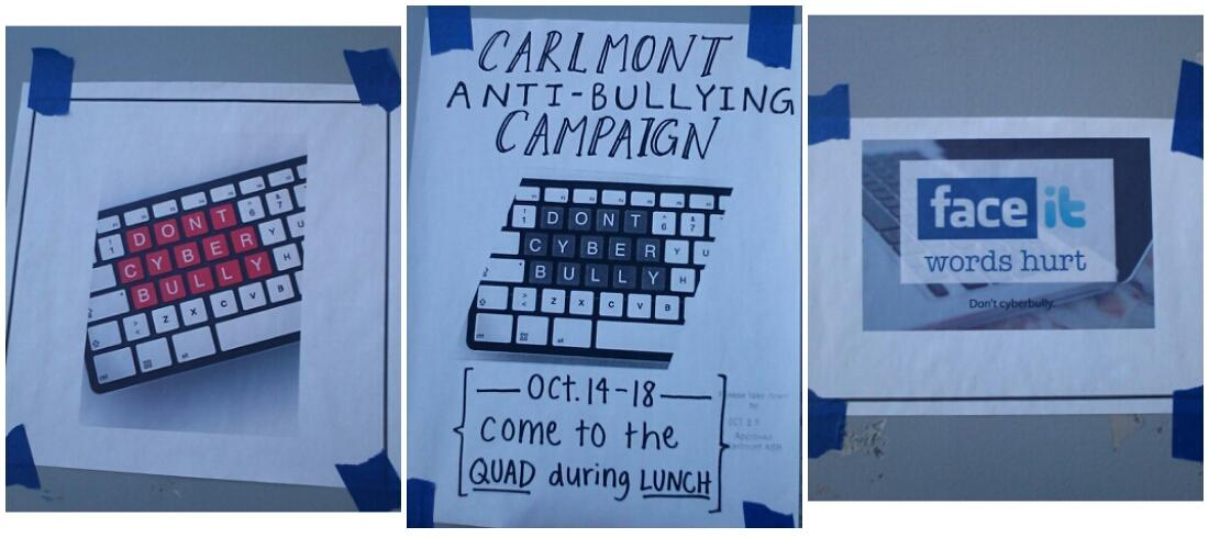 ASB promotes a campaign against cyberbullying by putting up posters around campus.