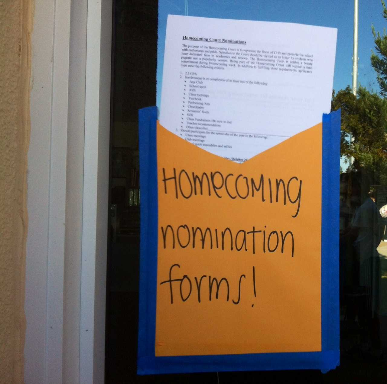 Get involved and nominate someone for Homecoming Court. You can fins them in this envelope outside the ASB room A-8.
