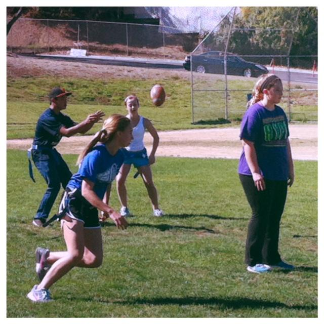Sophomores practice for the upcoming Powder Puff tournament.