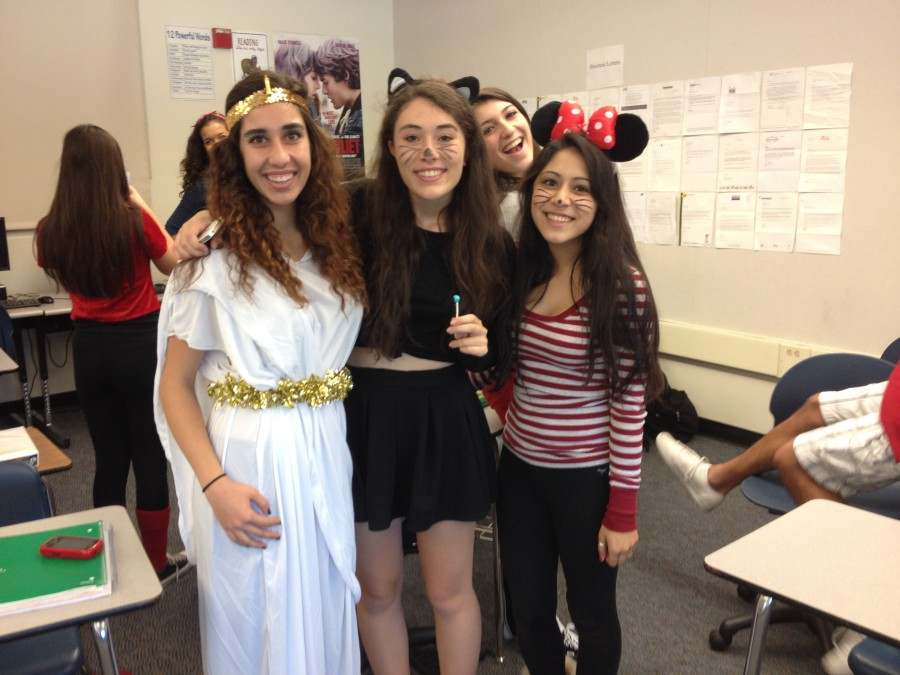 Students dress up in appropriate costumes for school.