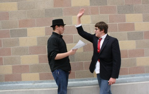 Seniors Daniel Thompson and Bradley Goodwin rehearse a scene for drama class.