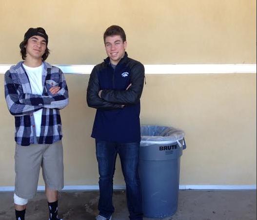 Male cheerleaders Gabe Crespin and Matt Stalun.