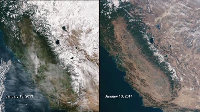 This picture shows the Sierra Mountain Range from space during 2013 (left) and the current drought of 2014 (right). Photograph property of NBC News.