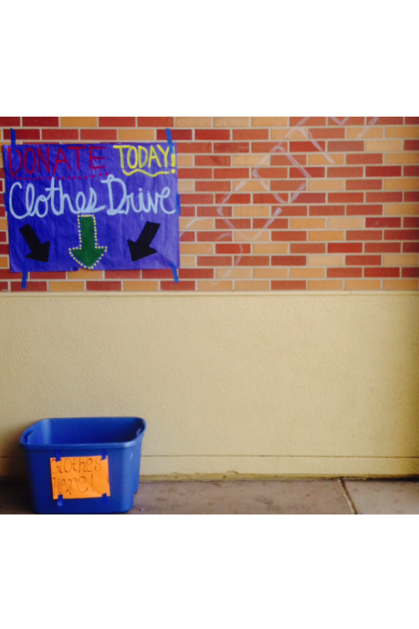 Decorative banners, posters, and bins are placed around campus by Carlmont's third period leadership class in an attempt to encourage donation of gently used clothes that will go to anti-trafficking organizations.