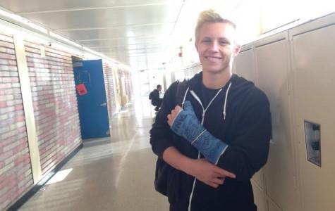 Senior Jared Ftizpatrick shows where he got injured