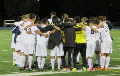 Halftime huddle.