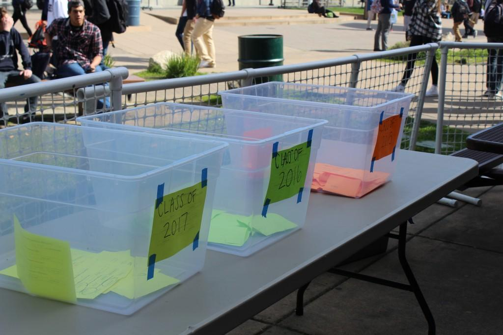 The freshman, sophomore and junior classes had to separate their votes into these bins before they are counted.