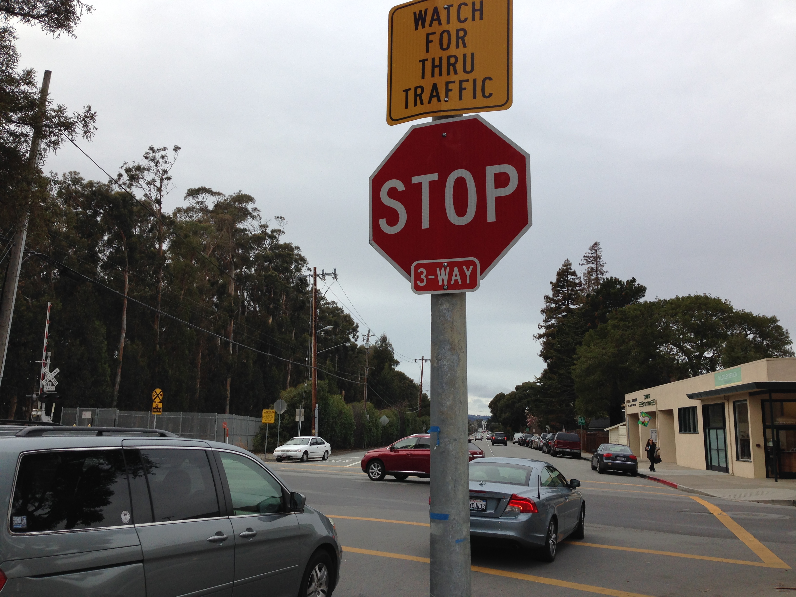 Stop sign next to Burlingame High School.