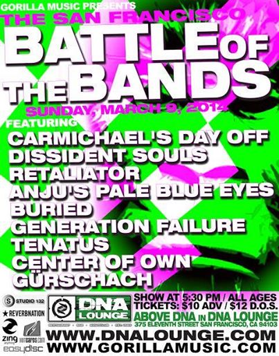 Carmichael's Day Off is one of nine bands performing this Sunday. Photograph from dnalounge.com.