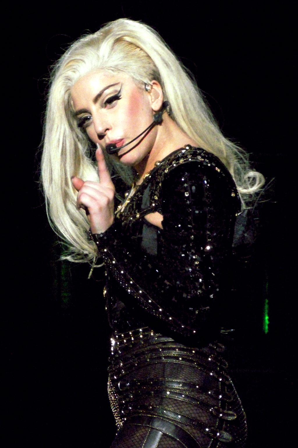 Lady Gaga performing on stage. Image courtesy of Wikipedia.