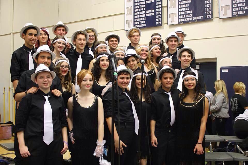 The swing club dressed as flappers at this year's Heritage Assembly. Photo credit to Chrissy Manthey-Klups.
