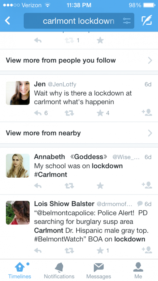 Many Carlmont students used twitter to find out what was the cause of the 30-minute lockdown.