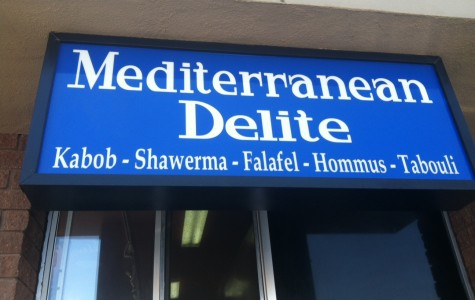 Outside sign for Mediterranean Delite