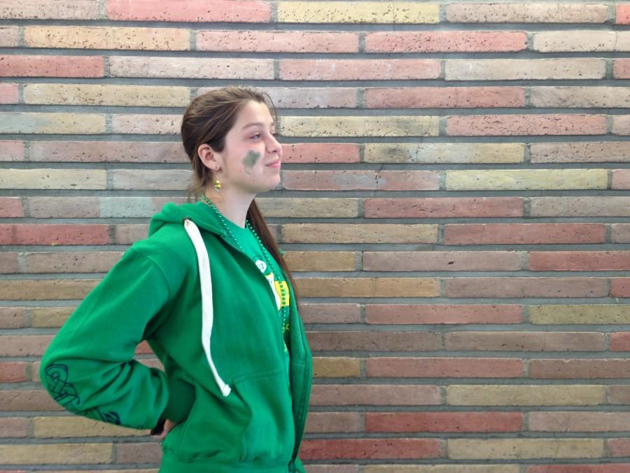 A Carlmont student wears green on St. Patrick's Day.