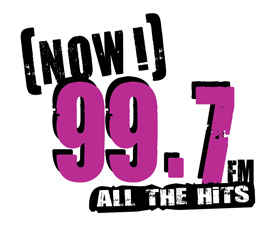 The logo for the radio station 99.7 NOW.