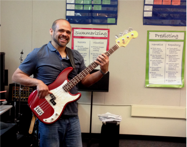 Garcia exhibits enthusiasm for teaching while improving his musical skills. He aims to become an amateur professional musician.