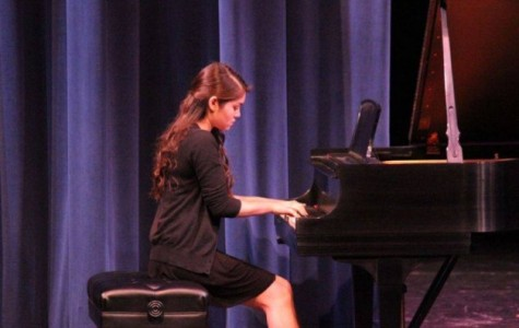Christina Galisatus playing the piano at Chamber music night at Carlmont. Photo credit to Carlmont Music.