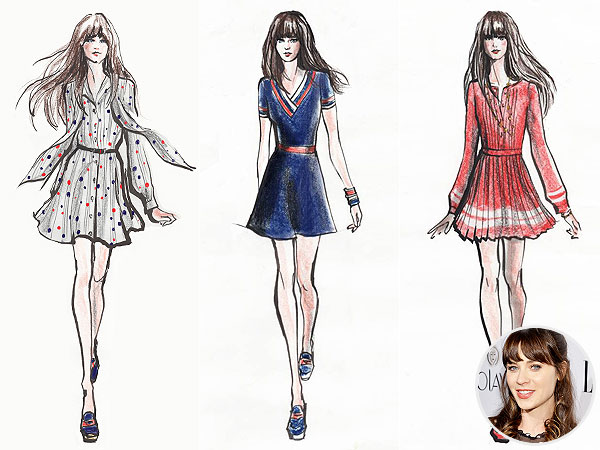 Line Art Fashion Design : Zooey deschanel launches new fashion line with tommy