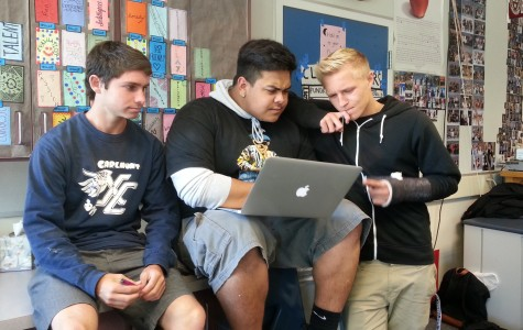 ASB members Ryan Dimick,  Tristan Gasperian, and Jared Fitzpatrick working hard.