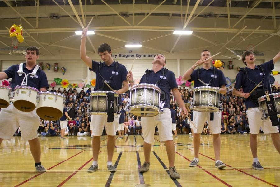 Carlmont drum line performs their last assembly of the year during the Celebration assembly on May 22.