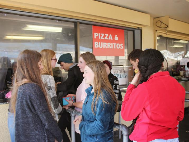 Lunch lines remain busy as hungry students wait to buy food.