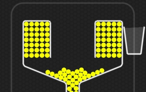 100 Balls starts off with the transparent cups and 100 yellow balls.
