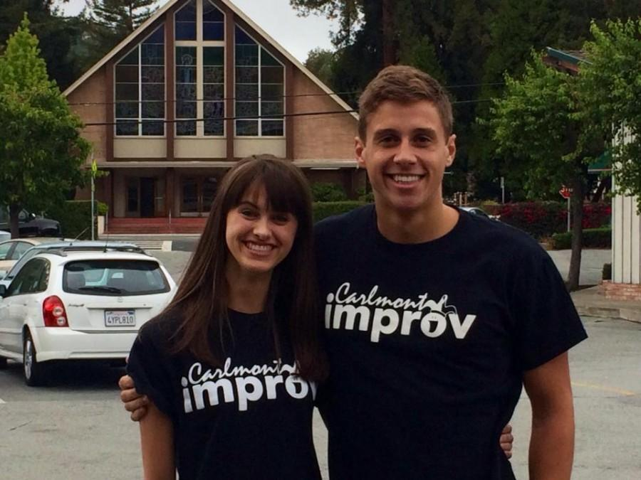 Junior+Lauren+Pittock+and+Improv+Team+alum+Tim+Gachot+proudly+wear+their+team+shirts.