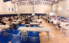Students in the Scot's Gym waiting to take the AP Economics exam.