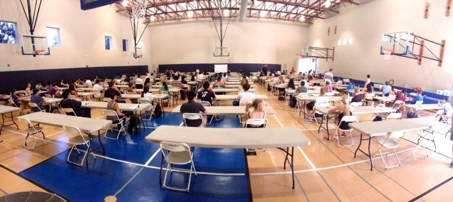 Students+in+the+Scot%27s+Gym+waiting+to+take+the+AP+Economics+exam.