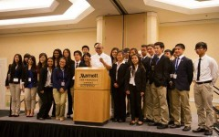 Carlmont DECA poses with Chef Jeff at the leadership  Photo provided by Arianna Bayangos.