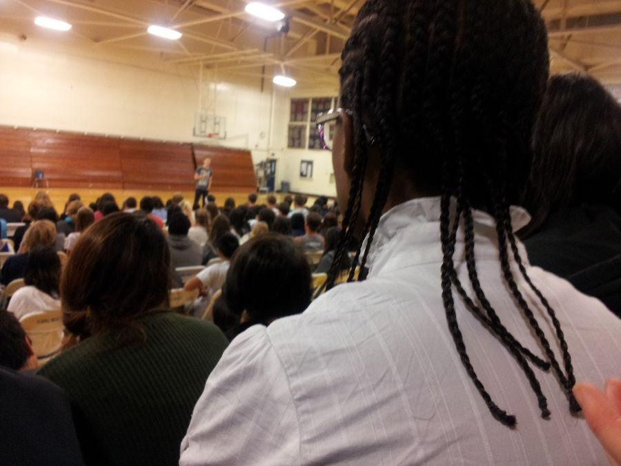 A majority of the students were solely focusing their attention on Backovich and his speech.
