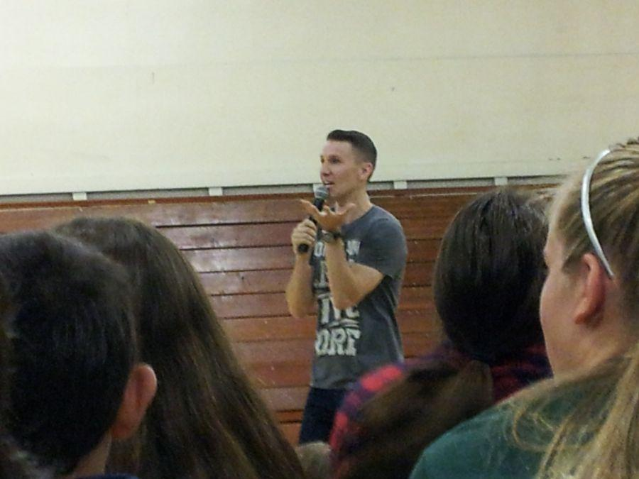 Scott Backovich talked at the assembly