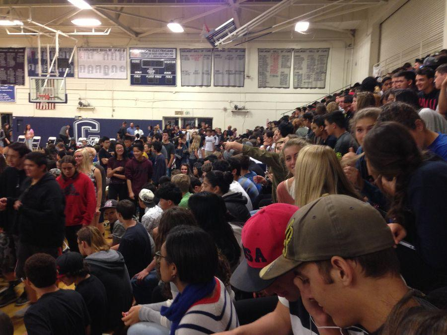 Students await the assembly speaker