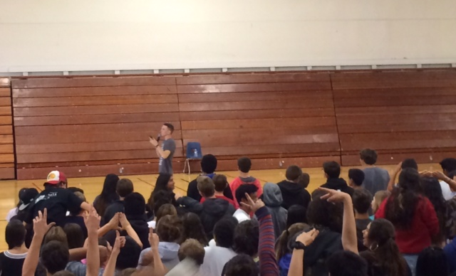 Backovich engages the audience at Carlmont's welcome-back assembly