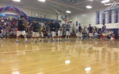 Drumline performs at the homecoming assembly.