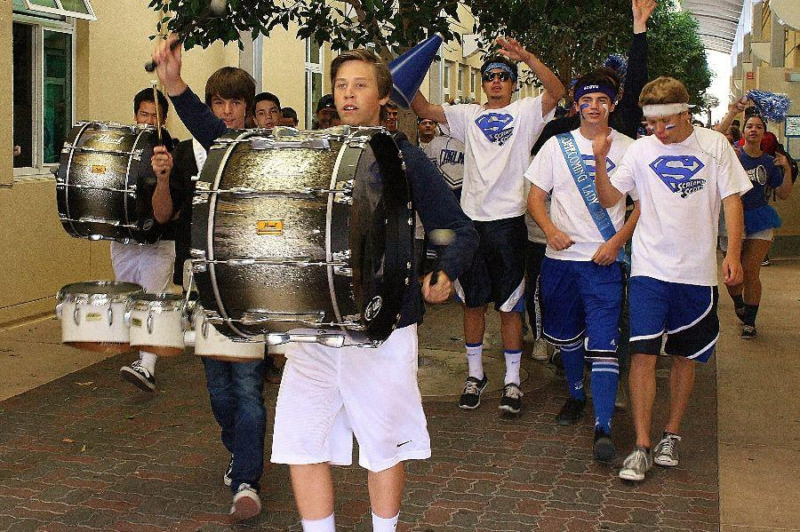 On Friday, drumline and ASB led a march through the hallways at the end of fourth period, generating excitement for the homecoming game that night.