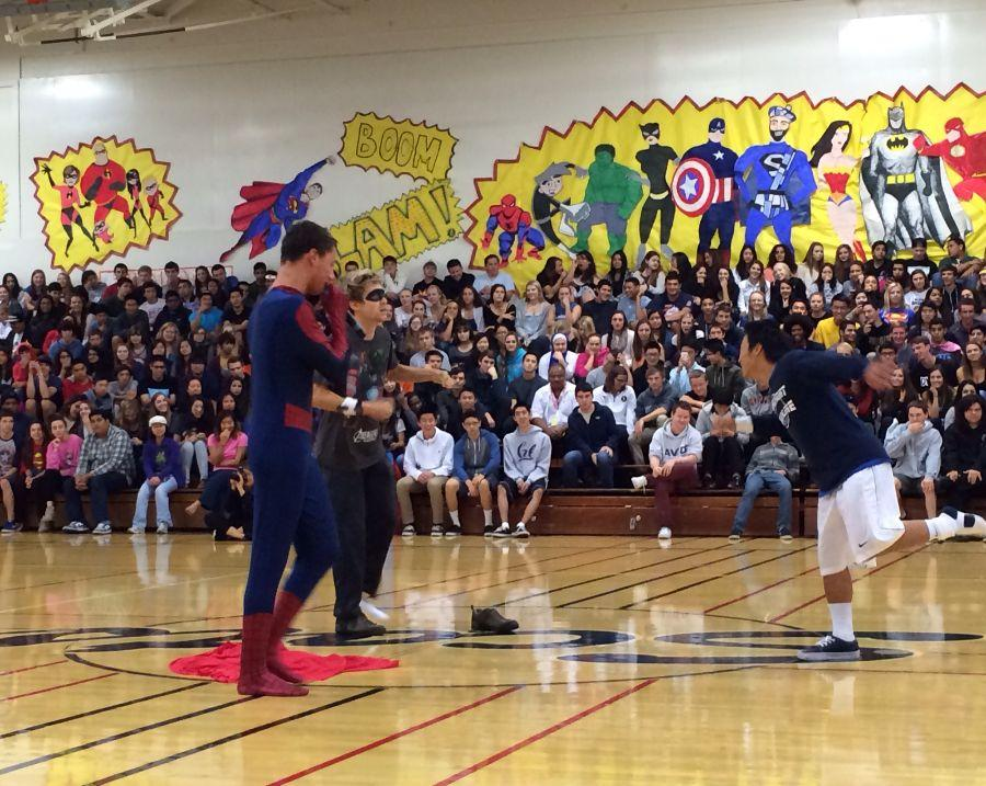 Drumline shakes away the competition during the finale of Carlmont Cup at the Homecoming Assembly.
