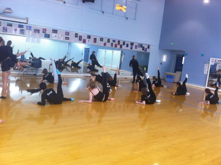 Carlmont's Advanced Dance rehearses one of their Winter Show pieces in class.