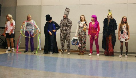 Students line up for the second round of judging in the 2014 Costume Contest.