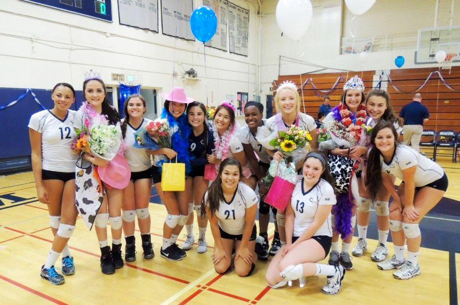The varsity Lady Scots celebrate their seniors at the final home game of the season.