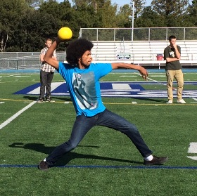 Max Ware winds up to fire the ball during the opening game of the dodgeball tournament
